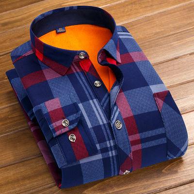 秋冬新款保暖衬衫男长袖加绒加厚爸爸格子衬衣【薄款/加绒可选】