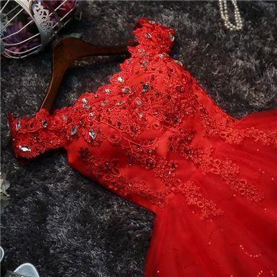 敬酒服新娘2019新款夏款修身红色结婚短款小个子订婚抹胸晚礼服裙【3月1日发完】