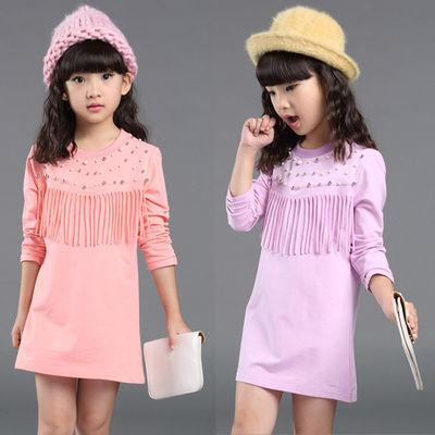 儿童秋季新款女童中长款长袖T恤中大童韩版钉珠流苏打底衫潮
