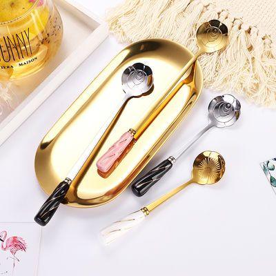 网红陶瓷勺不锈钢樱花朵勺长柄冰勺创意搅拌勺可爱咖啡勺马克杯勺
