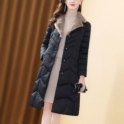 大码保暖棉服女中长款2020新款黑色仿水貂毛领气质百搭加厚外套女【8天内发货】