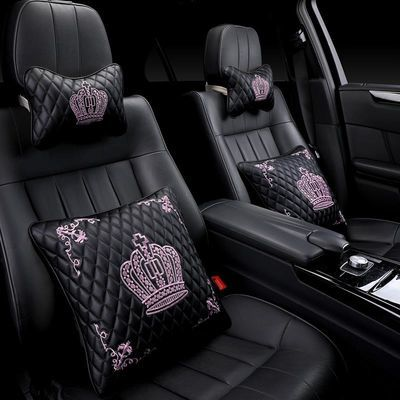 汽车头枕护颈枕车用枕头颈枕骨头枕座椅头枕靠枕一对皇冠刺绣