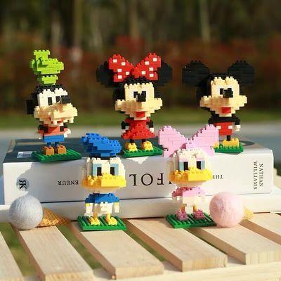迪士尼益智拼装拼插微颗粒乐高积木米奇哆啦A梦蜘蛛侠男女孩玩具