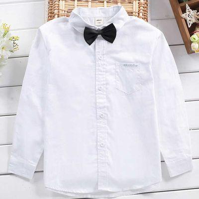 儿童白衬衫黑裤子套装男童长袖纯棉白色衬衣学生黑色西裤演出礼服