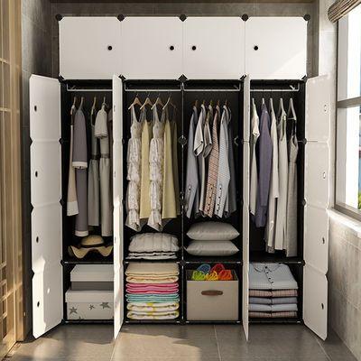 衣柜收纳架简易卧室家具塑料布实木简约柜子推拉门出租房新款主图