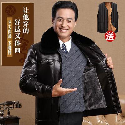 中老年人男装50老爸60岁中年保暖皮夹克爸爸皮衣冬装外套加绒加厚