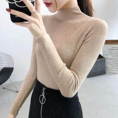 自带半高领2020秋冬新款打底衫女长袖洋气百搭韩版修身毛衣针织衫