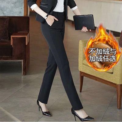 加绒加厚工作裤女修身显瘦直筒裤黑色职业西裤工装裤长裤西裤秋冬