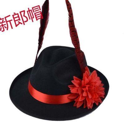 影视帽古装拍摄影道具舞台男士大沿帽子礼帽结婚庆影楼新郎官中式