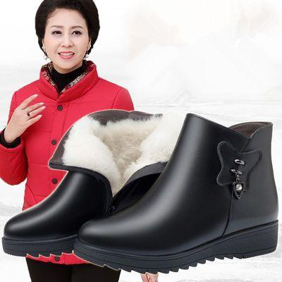 2019新款妈妈棉鞋女冬平底加绒加厚短靴软底休闲防滑中老年棉靴