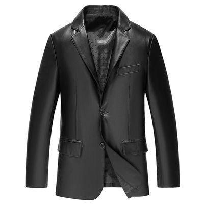 [新款]子丹保罗海宁春季新款薄款男士外套中年皮衣男PU夹克男装衣