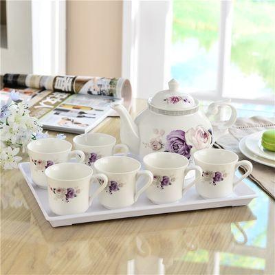 送茶盘陶瓷茶具套装1壶6杯热水壶水杯带过滤孔泡茶壶茶杯水具套装