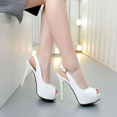 8厘米防水台凉鞋女高跟鞋细跟单鞋鱼嘴蝴鞋蝶结仙女鞋大小码32-43