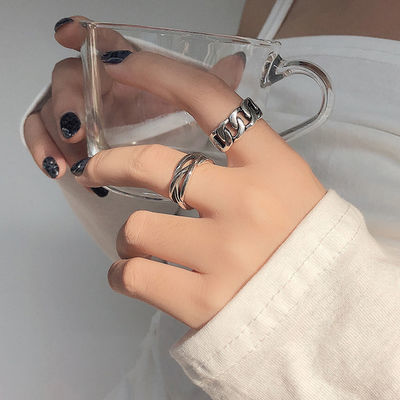 戒指女学生韩版个性ins潮冷淡风网红复古链条食指单身嘻哈开口戒