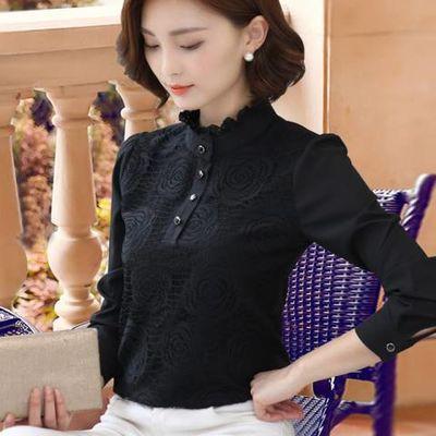 蕾丝衬衫女长袖保暖打底衫女装2020新款衣服时尚洋气加绒加厚衬衣