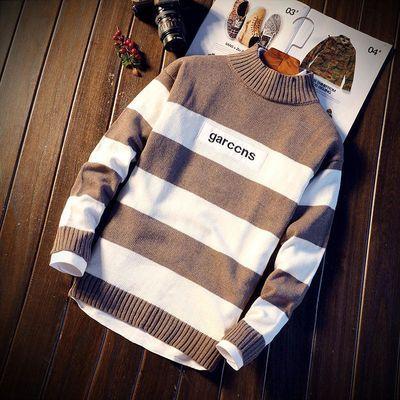 【2件/1件】秋冬季毛衣男圆领套头毛线衣男士韩版修身长袖针织衫