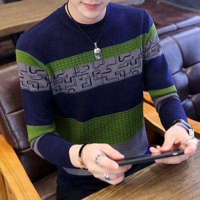 男士毛衣圆领羊绒针织衫秋冬季青年毛衣男韩版潮流休闲毛线衣