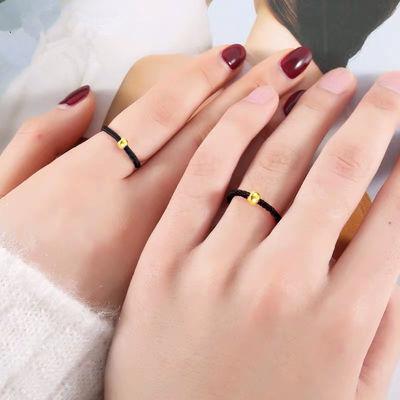 简约百搭女学生戒指女学生小红书抖音同款男女情侣转运珠黑绳戒指