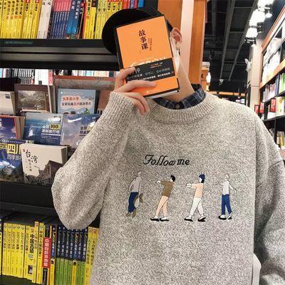冬季个性毛衣男士韩版潮流宽松针织衫学生套头圆领保暖毛线衣外套