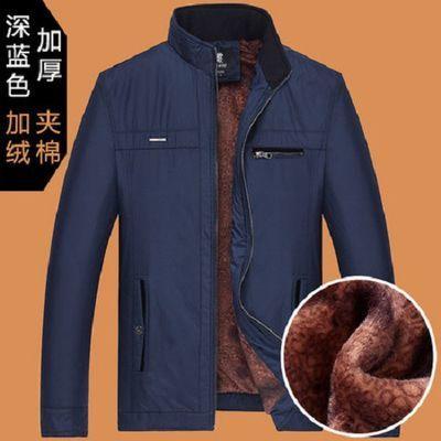 中年外套男春秋冬季男装加绒加厚款中老年人夹克爸爸装40岁50韩版