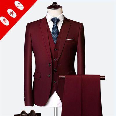 新款商务西服三件套大码正装男青年韩版修身西服套装伴郎新郎礼服