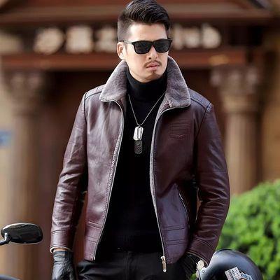 海宁皮衣男士真皮皮衣秋冬装加绒加厚皮毛一体皮休闲皮夹克男外套