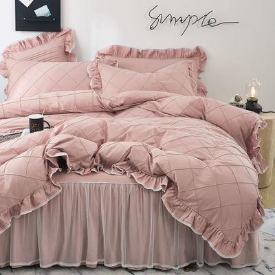 【正品100%纯棉】被套床罩四件套全棉床裙韩版公主风床上用品家用