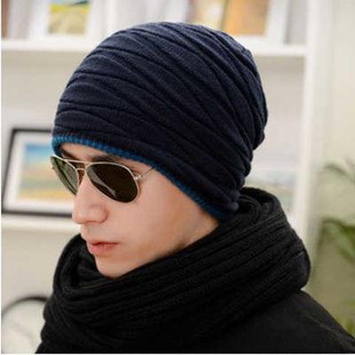 帽子男韩版潮流毛线帽冬季加绒加厚保暖针织帽护耳棉帽青年套头帽主图