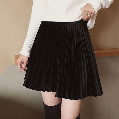 金丝绒百褶裙女半身裙中长款裙子网红性感新款超短裙学生韩版大码