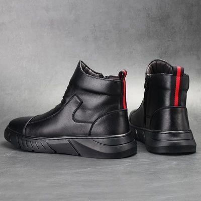 G5CONXEGN真皮牛皮马丁靴新款加绒棉靴秋冬高帮男士皮鞋雪地靴男