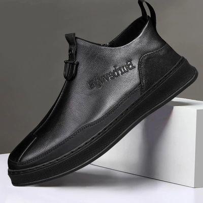 【高品质】冬季靴子男士高帮皮靴休闲鞋棉皮鞋加绒男鞋内增高短靴