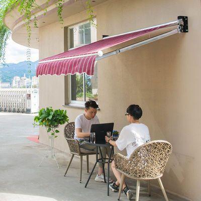 户外遮阳棚伸缩式雨棚加厚铝合金折叠伸缩帐篷阳台庭院手摇停