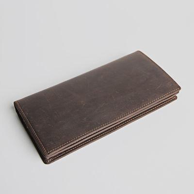 复古手工男士长款牛皮钱包真皮钱夹超薄皮夹女