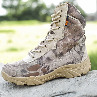 新品黑色蟒纹迷彩军靴男特种兵战术靴作战靴沙漠靴户外高帮登山鞋