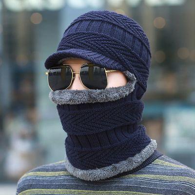 新品毛线帽子男冬天针织套头帽保暖棉帽骑车防风帽蒙面一体围脖护