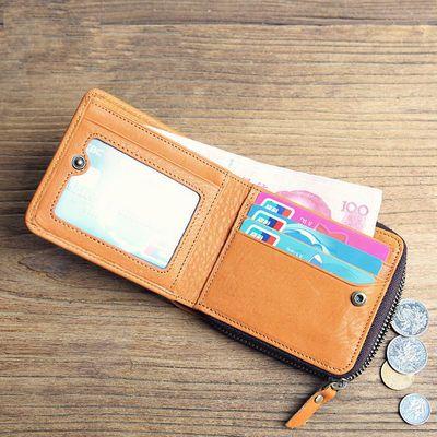 正品牌日韩男士钱包男复古牛皮短款钱夹真皮横款搭扣皮夹女零钱包