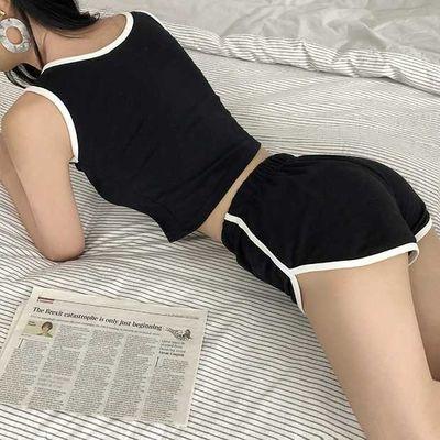 背心短袖套装睡衣女夏短裤运动休闲露脐韩版宽松瑜伽服