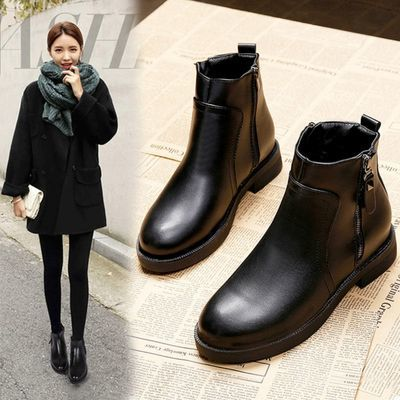 春秋新款2020短靴鞋子女学生韩版百搭优质皮质冬季马丁靴女英伦风