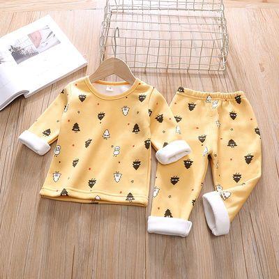 0-1岁2男女宝宝婴儿6一12八10个月3冬装保暖内衣加绒加厚睡衣套装