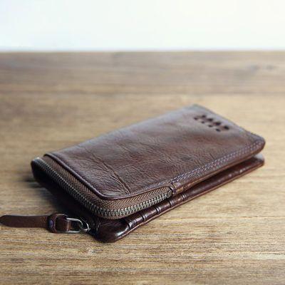 钱包男短款拉链手工牛皮复古多功能超薄皮夹两折横款真皮正品钱夹