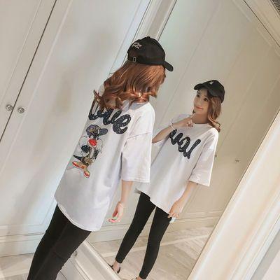 孕妇夏季韩国卡通大码宽松短袖上衣开叉中长款秋装中袖T恤套装【3月13日发完】