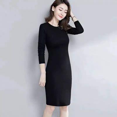 加绒连衣裙秋冬女装内搭保暖打底裙加大码长袖连衣裙显瘦过膝长裙