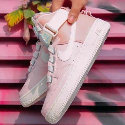 女鞋秋冬高帮空军一号樱花粉板鞋女冬季保暖运动休闲鞋防滑运动鞋