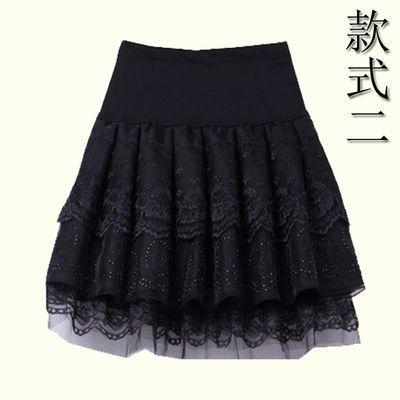 半身裙秋冬季欧根纱黑色短裙女蓬蓬裙秋装大码a字松紧腰冬天裙子