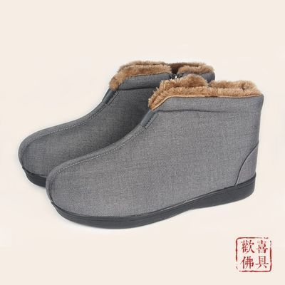 尚远毛�q防水僧鞋僧人冬季棉鞋中国风和尚鞋保暖鞋休闲鞋居士鞋