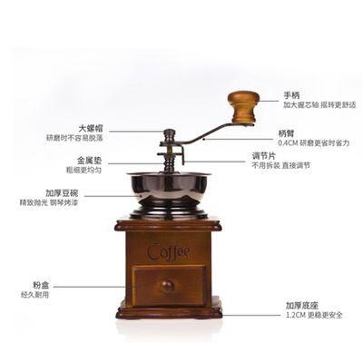 新款磨豆机咖啡豆研磨机手摇咖啡机磨豆机家用复古小型粉碎机磨粉