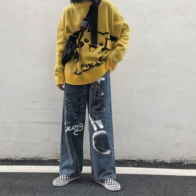 韩国ins复古自制高街嘻哈人头像印花宽松阔腿牛仔裤男女长裤子潮