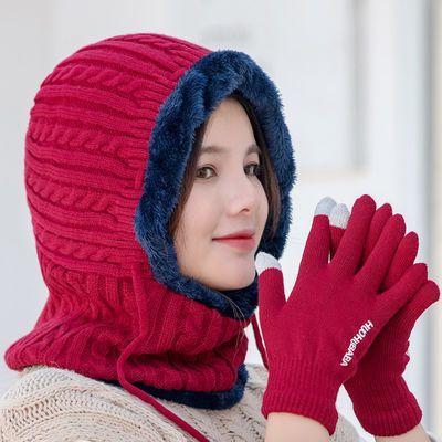 帽子女秋冬季包头帽保暖套头女针织毛线帽护耳围脖一体骑车防风帽