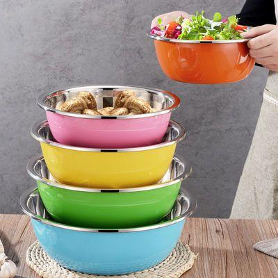 【五件套】彩色不锈钢盆加厚加深厨房家用盆子洗脸洗菜淘米和面盆