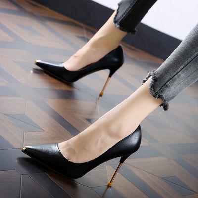 欧美磨砂绒面黑色高跟鞋职业OL性感高跟鞋细跟尖头单鞋女鞋32 33